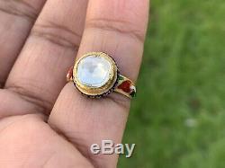 2 Carat Bague À Diamant Solitaire. Émail Shank. Vintage Jaipur. Superbe Qualité