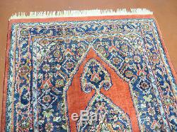 3' X 5' Vintage Hand Made Indien Laine Tapis Rouge Médaillon Légumes Teintures De Nice