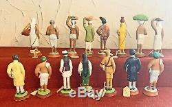 60 Pc Set Antique / Vintage Indian Clay Figures Poona / Lucknowithkrishnanagar 1880