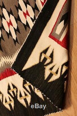 8' X 4' Tapis Amérindien Navajo Vintage Authentique Woven Hand