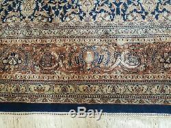 9' X 12' Vintage Hand Made Indian Agra Laine Tapis Tapis Bio Bleu De Nice
