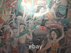 Amazing Huge Old Vintage Original Painting Indonesia Bali Sumatra Festival Hindou