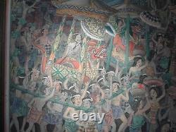 Amazing Huge Old Vintage Original Painting Indonésie Bali Sumatra Hindu Festival