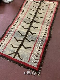 American Anciennes Indien Indigene Navajo Rug Pictorial Maïs Tige 68x37