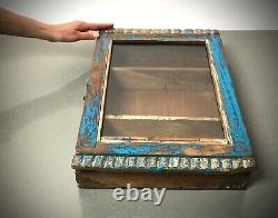 Ancien Cabinet Indien Vintage. Art Déco. Affichage / Salle De Bains. Bleu Saphir