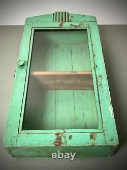 Ancien Cabinet Indien Vintage. Art Déco. Affichage / Salle De Bains. Détresse Jade