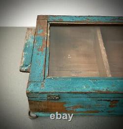 Ancien Cabinet Indien Vintage. Art Déco. Affichage / Salle De Bains. Turquoise