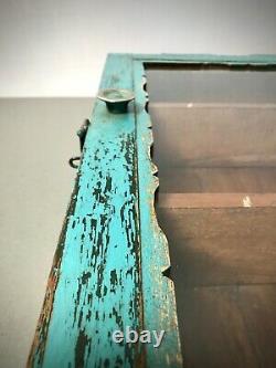 Ancien Cabinet Indien Vintage. Art Déco. Grand. Affichage / Salle De Bains. Turquoise