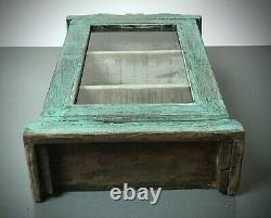 Ancien Cabinet Indien Vintage. Art Déco. Grand Écran/salle De Bain. Turquoise Pâle