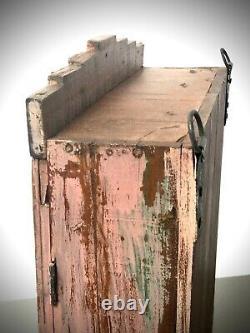 Ancien Cabinet Indien Vintage. Art Déco. Salle De Bains D'affichage. Poudre Rose & Teck