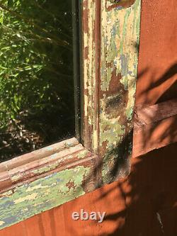 Ancien Miroir Indien Vintage Solid Teck Frame Jade Turquoise Jaune Bleu 1