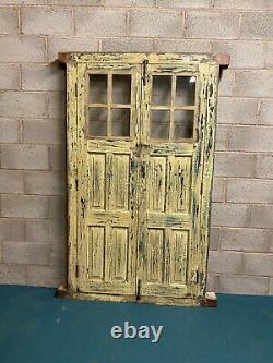 Ancien Panneau De Verre Indien Rustique Antique Porte En Bois Avec Cadre