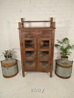 Ancien Vintage Indien Solide En Bois Émaillé Salle De Bains Armoire De Cuisine