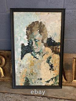 Ancien Vintage MID Century Indien Femme Peinture À L'huile Portrait Encadré Impasto