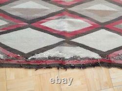 Ancien Vintage Navajo Indien Rug Blanket Tissage Crystal Post Transitionnel