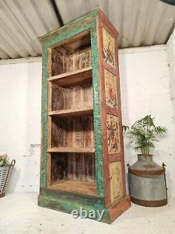Ancien Vintage Reclaimed Main Sculpté Coloré Étagères Indiennes Bibliothèque D'unité
