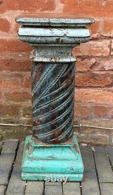 Ancienne Ancienne Colonne En Bois D'inde Pilier De Socle Stand 60cm Haute