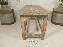 Ancienne Table De Café Rustique Indien Vintage En Bois Rose Rose Vert