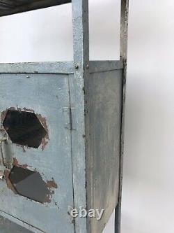 Antique 40s Vintage Indian Metal Kitchen Cabinet Grey Book Étagère Étagère
