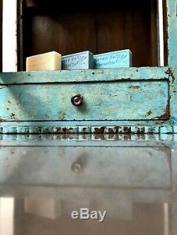 Antique Art Déco Vintage Indien Affichage Salle De Bains Cabinet. Baby Blue, La Vanille
