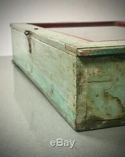 Antique Art Déco Vintage Indien Affichage Salle De Bains Cabinet. Pale Turquoise Et Rouge