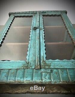 Antique Art Déco Vintage Indien Affichage Salle De Bains Cabinet. Turquoise