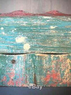 Antique Art Déco Vintage Indien Affichage Salle De Bains Cabinet. Turquoise, Corail
