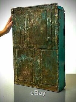 Antique Art Déco Vintage Indien Affichage Salle De Bains Cabinet. Turquoise, Elephant