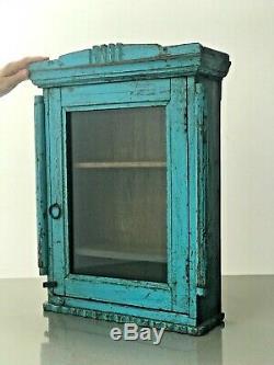 Antique Art Déco Vintage Indien Affichage Salle De Bains Cabinet. Vibrant Turquoise