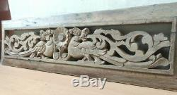 Antique Dragon Wall Hanging Panneau Bois Décor Yalli Vintage Domaine Sculpté À La Main