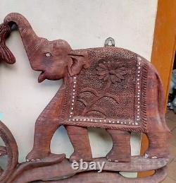 Antique Elephant Trunk Up Salute Panneau Vintage Sculpté À La Main Home Décor Panneau Mural