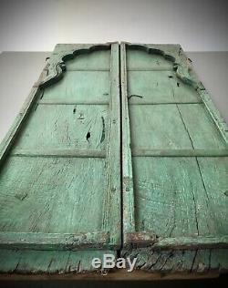 Antique Indian Mughal Arquéesles, Portes À Lamelles. Teck. Vintage Rajasthan. Jade