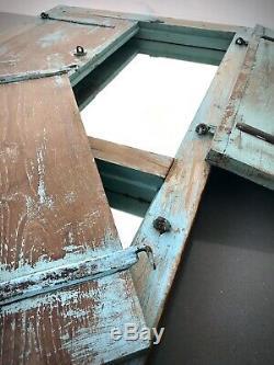 Antique Indian Shuttered Fenêtre Miroir. Ancien. Rare Version Double. Baby Blue