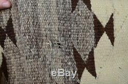 Antique Indien Navajo Rug Native American Couverture Larges Rayures 66x43 Vtg Vieux