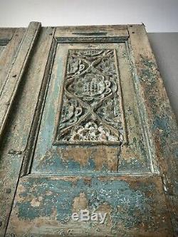 Antique Indiens Portes. Volets De Teck Finement Sculpté. Vintage Rajasthan. Sarcelle