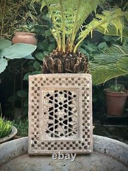 Antique, Jali De Grès Moghol. Indien Vintage. Motif Floral Percé. Jodhpur