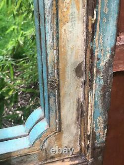 Antique Large Vintage Indian Arched Mughal Art Déco Mirror Teak Mustard Blue 2