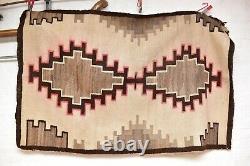 Antique Navajo Rug Native Américaine Indienne Tissage Textile Large 65x42 Vintage