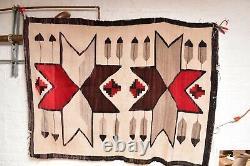 Antique Navajo Rug Native Américaine Indienne Tissage Vtg 63x46 Lg Pictorial Stars