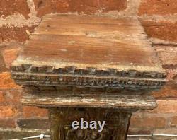 Antique Pilier Indien Colonne Socle En Bois Massif 61cm Haut Original Vintage
