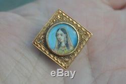 Antique Victorienne Peinte À La Main Bouton Portrait Miniature Princesse Indienne Stud Vtg