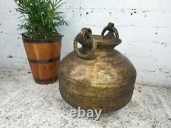 Antique Vintage Authentique Indien Grande Main Battu Vase Pot D'eau En Laiton