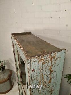 Antique Vintage Bleu Indien Solide En Bois Émaillé Salle De Bain Armoire De Cuisine