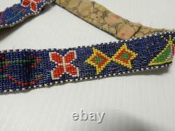 Antique Vintage C1920s Sioux Plains Indian Loom Beaded Indian Belt Pictorial