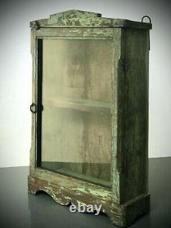 Antique Vintage Cabinet Indien. Art Déco. Afficher / Salle De Bains. Jade Et Turquoise