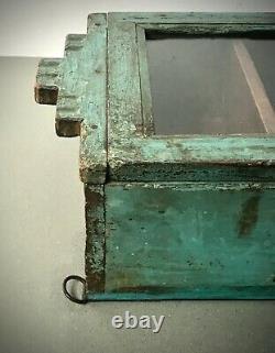 Antique Vintage Cabinet Indien. Art Déco. Afficher / Salle De Bains. Turquoise Muted