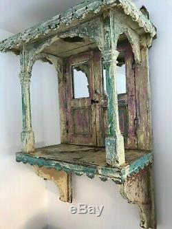 Antique Vintage En Bois Accueil Indien Hindu Temple / Sanctuaire / Autel. Ghar Mandir
