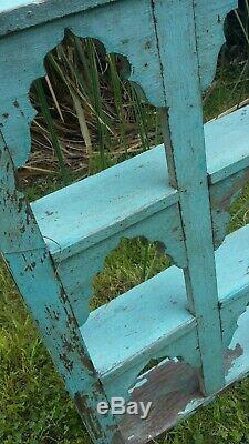 Antique Vintage Etagères Murales Indien Décoratif Topi Bleu