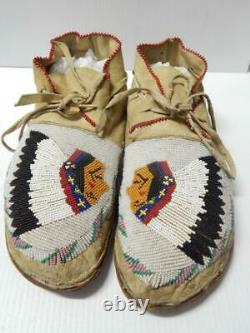 Antique Vintage Flathead Plateau Indien Full Beaded Pictorial Moccasins Montana