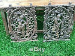 Antique Vintage Fonte Indien Balcon Banister Panel Balustre Dancing Lady